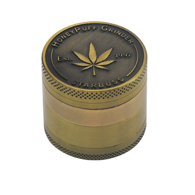 Bronze color Zinc Alloy Herb Grinder 40MM 4 layer Metal Mini Tobacco Grinders with Pollen Catcher Smoke Pipe Accessories 10
