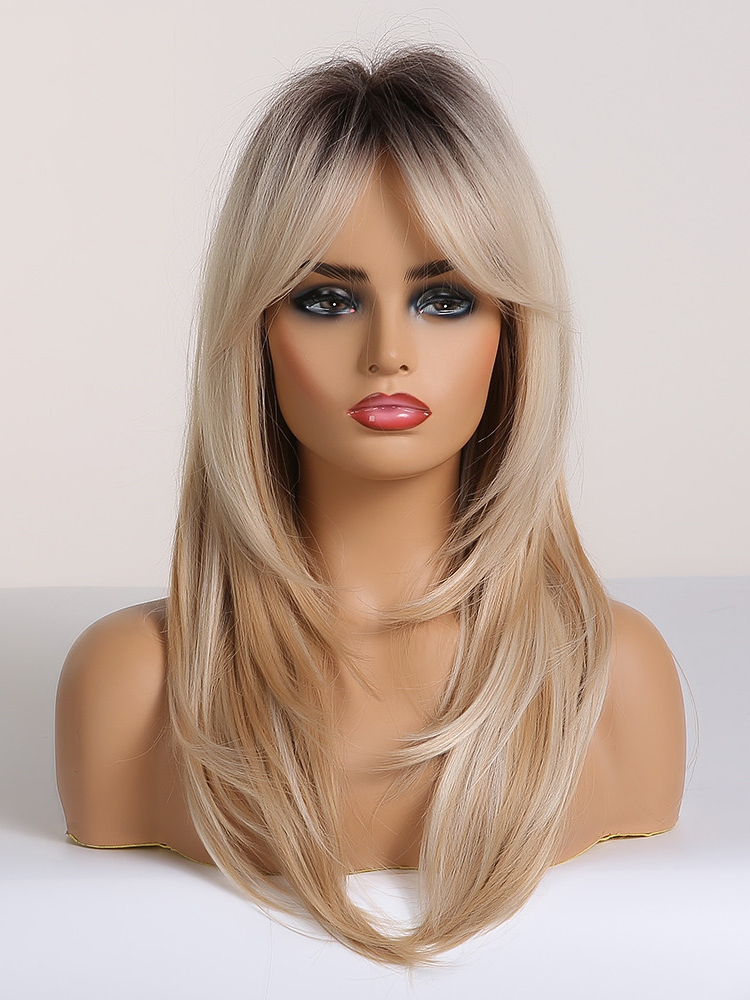 Hair-Wigs Bangs Blonde Afro Heat-Resistant Brown Cosplay Layered Women Wavy Long To Ombre
