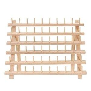60 катушек деревянный стеллаж для ниток/держатель для ниток Органайзер с подвесными крючками для вышивка стеганая и швейная нить