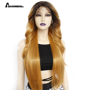 Image 2 - Anogol Brown Long Body Wave Synthetic Lace Front Wigs Futura Fiber  Gold Blonde For Women Heat Resistant Black Pre Plucked