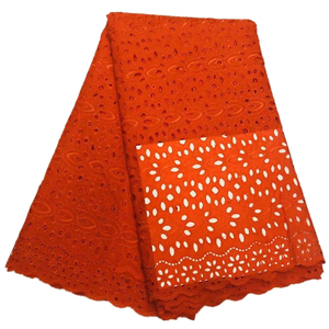 New arrival swiss voile lace orange nigerian lace fabrics 100% cotton swiss voile lace in switzerland(China)