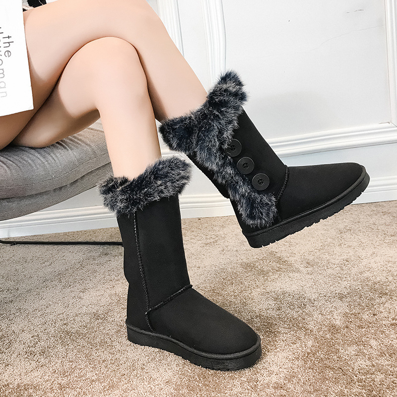European Women's Winter Boots Doubled Furry Button Warm Ugg High-top Flat Non-Slip Boots