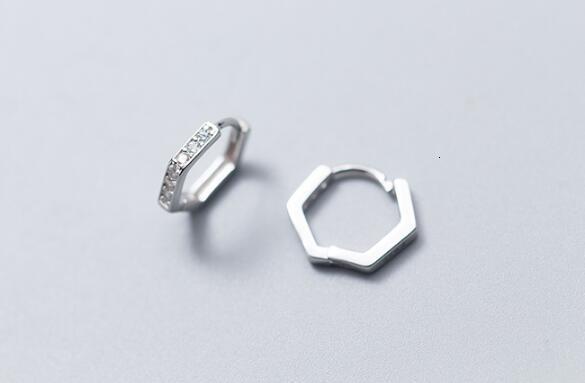 12mm SMALL Authentic 100% Real 100% 925 Sterling Silver fine Jewelry hexagon Geometric Hoop Huggie Earrings zirconia setGTLE2398