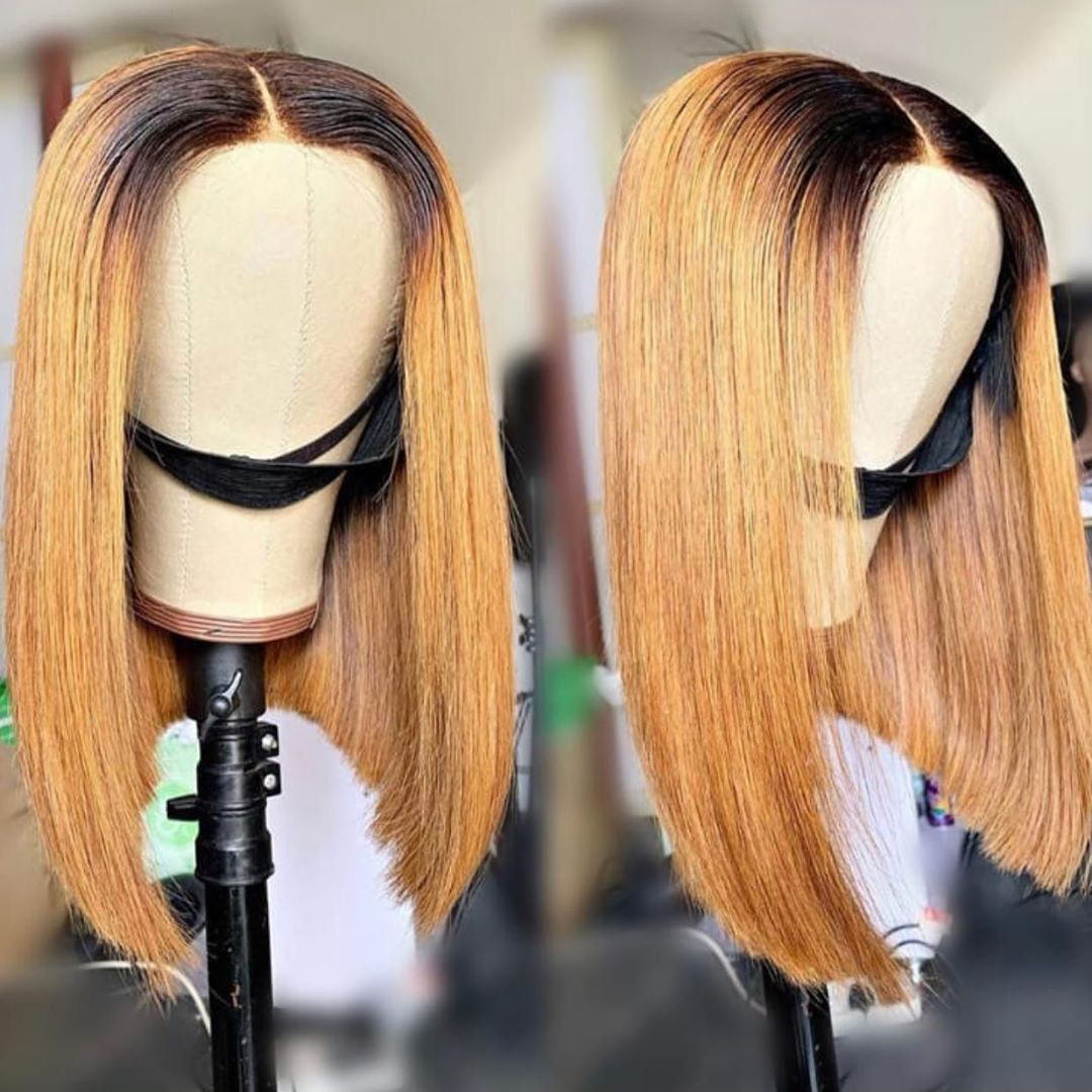 Poker Face 1B/27 Ombre Color 13X4 Lace Front Human Hair Wig Straight Brazilian Remy Hair Ombre Honey Blonde Bob Wigs 150 Density