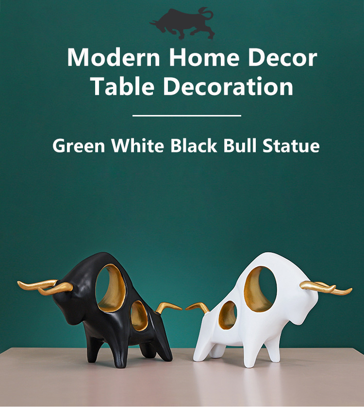 2 Pcs  Pair 3D Bull Figurine Home Decor Statue Animal Abstract Sculpture Modern Room Table Decoration Art Decorative Statues (1)