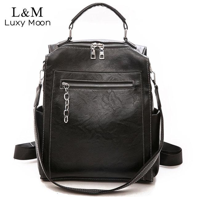 Kadın sırt çantası deri okul çantaları genç kızlar için rahat büyük kapasiteli çok fonksiyonlu Vintage siyah omuz çantaları 2020 XA158H