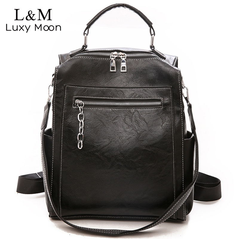 Women Backpack Leather School Bags For Teenage Girls Casual Large Capacity Multifunction Vintage Black Shoulder Bags 2020 XA158H