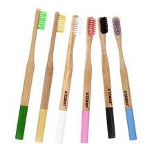 4 pièces/lot Double Ultra doux brosse à dents bambou charbon de bois brosses à dents têtes noires manche en bois environnement doux soies en gros