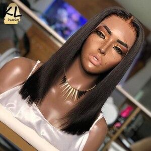 Image 3 - 13 × 6深部レースフロント人間の髪かつら事前摘み取らブラジルのremyストレートショートボブ2 × 6閉鎖かつら130密度自然な黒