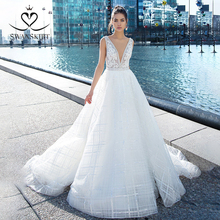 Luxo frisado vestido de casamento swanskirt i107 v neck apliques a linha sem mangas vestido de noiva sem costas princesa noiva