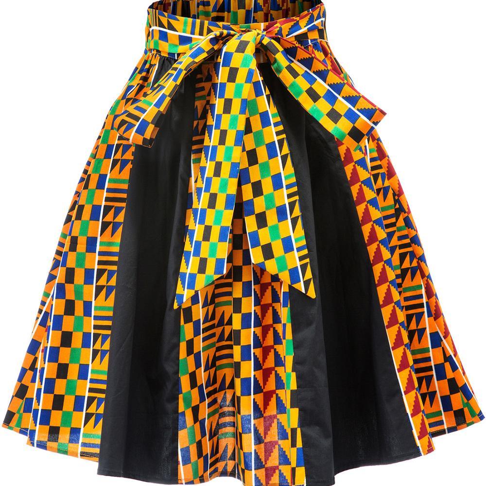 Shenbolen African Women Skirt Fashion Kente Print Skirt African Clothes For Women Skirt Casual African Traditional Dashiki Skirt