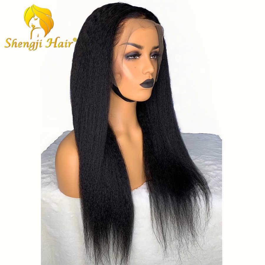 Shengji Glueless полные парики шнурка с волосами младенца бразильские полные парики шнурка человеческих волос для черных женщин волосы remy кудрявый прямой парик