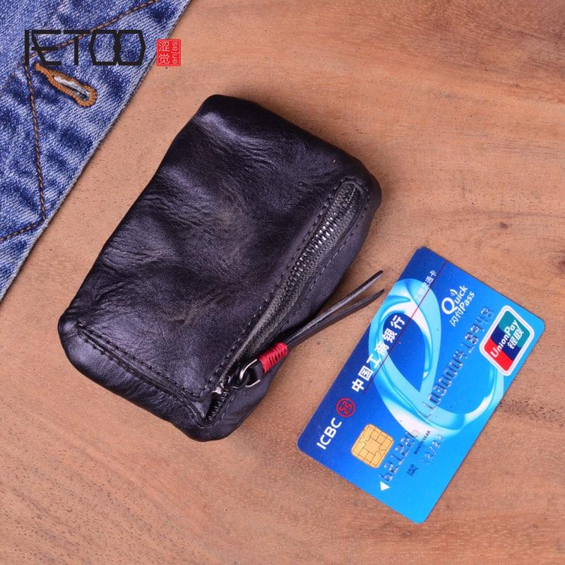 AETOO Vintage Handmade Genuine Leather Wallet Coin Purse Men Women Zipper Real Cowhide Short Small Slim Card Holder Case Female