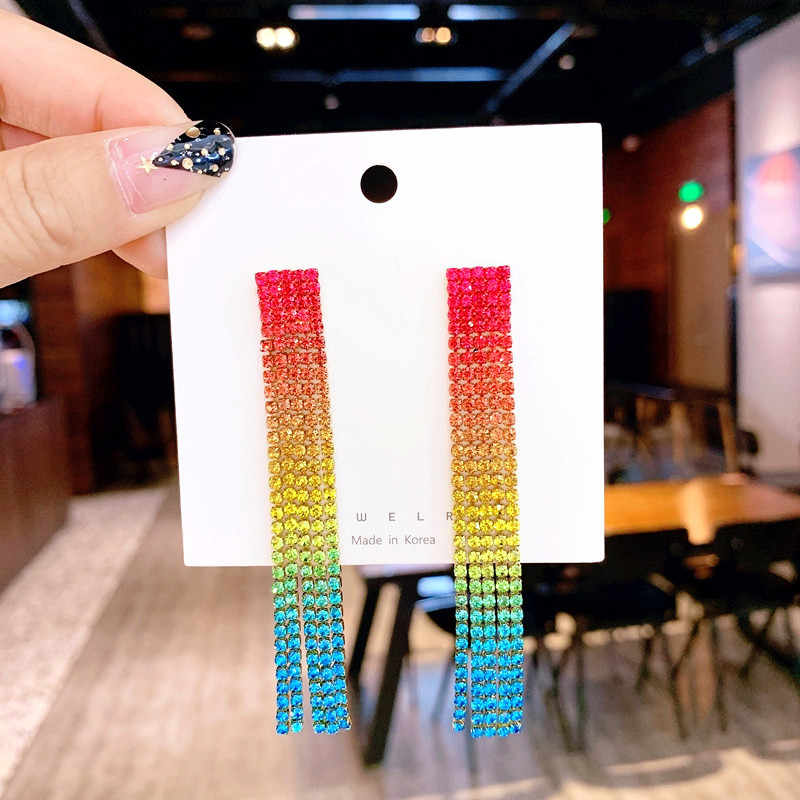 2019 contracted fashion temperament multicolor crystal style Personality long tassels geometry delicate Women Drop earrings new