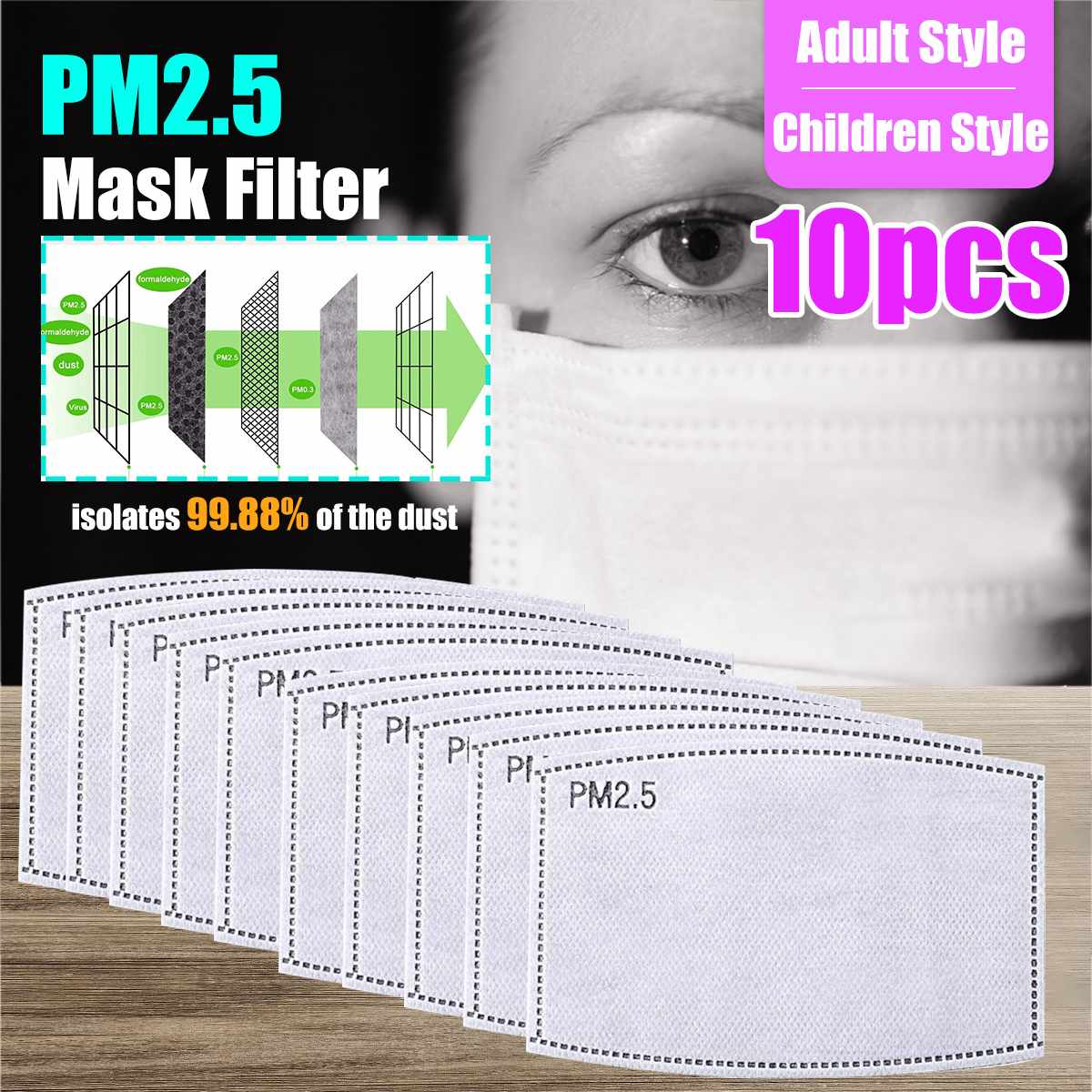 10pcs/Lot PM2.5 Filter Paper Anti Haze Mouth Mask Anti Dust Mask Filter Paper Health Care 99.88% Activated Carbon Filter