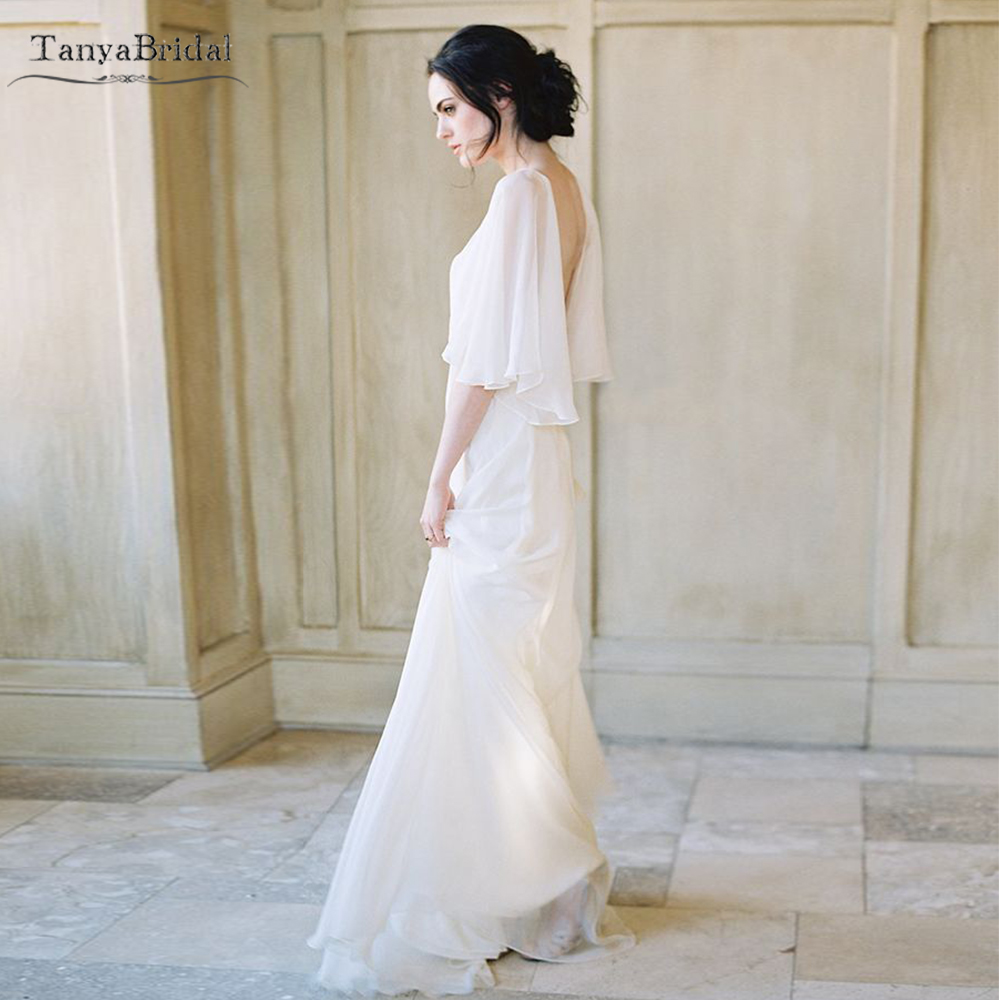 Ruffles Sleeve Silk Chiffon Wedding Dresses Deep V-Neck Simple Elegant Bridal Gowns Backless A Line Vestido de Noivas  DW407