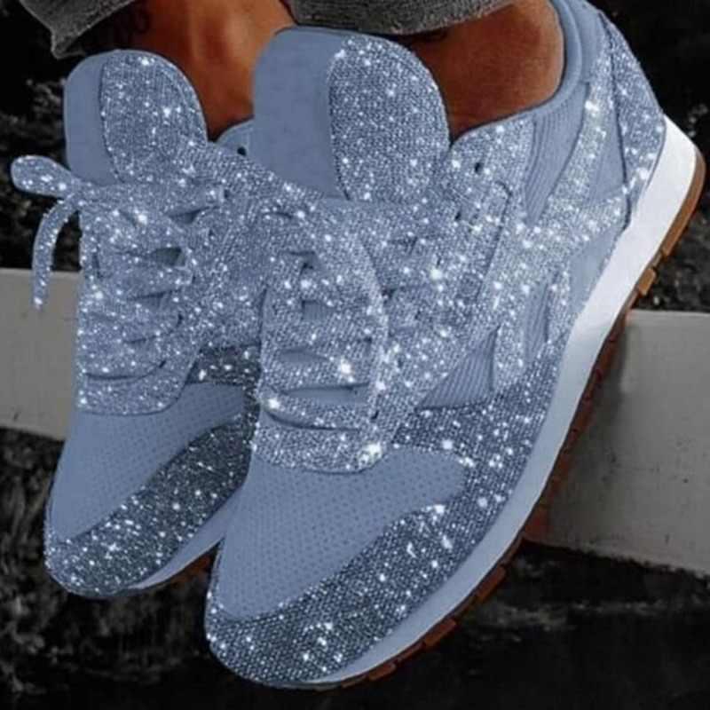 Kadın Bling ayakkabı 2020 sonbahar yeni rahat düz bayanlar vulkanize ayakkabı nefes Lace Up Sneakers açık spor ayakkabılar