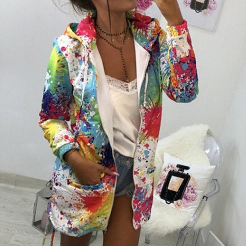 H1f716f72349f474a9e150ad624b1e8232 Bomber Jacket Coat Women Colourful Tie Dyeing Print Pocket Zipper Hooded Sweatshirt Outwear Casual Windbreaker Slim Overcoat