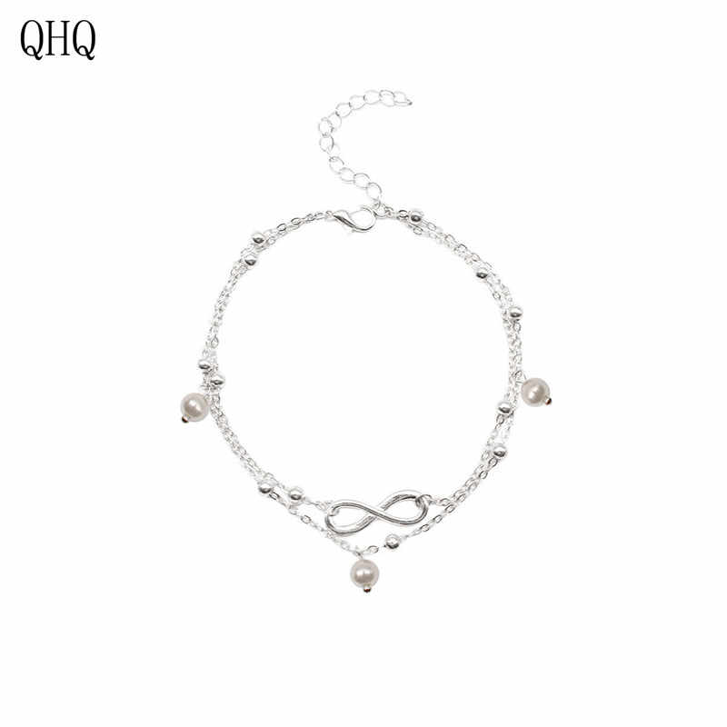 QHQ 2019 łańcuszek na kostkę na nodze podwójna warstwa Black-liny plaża łańcuszek na kostkę kobiet geometria 8-ciąg koralik łańcuch ze stopu noga biżuteria