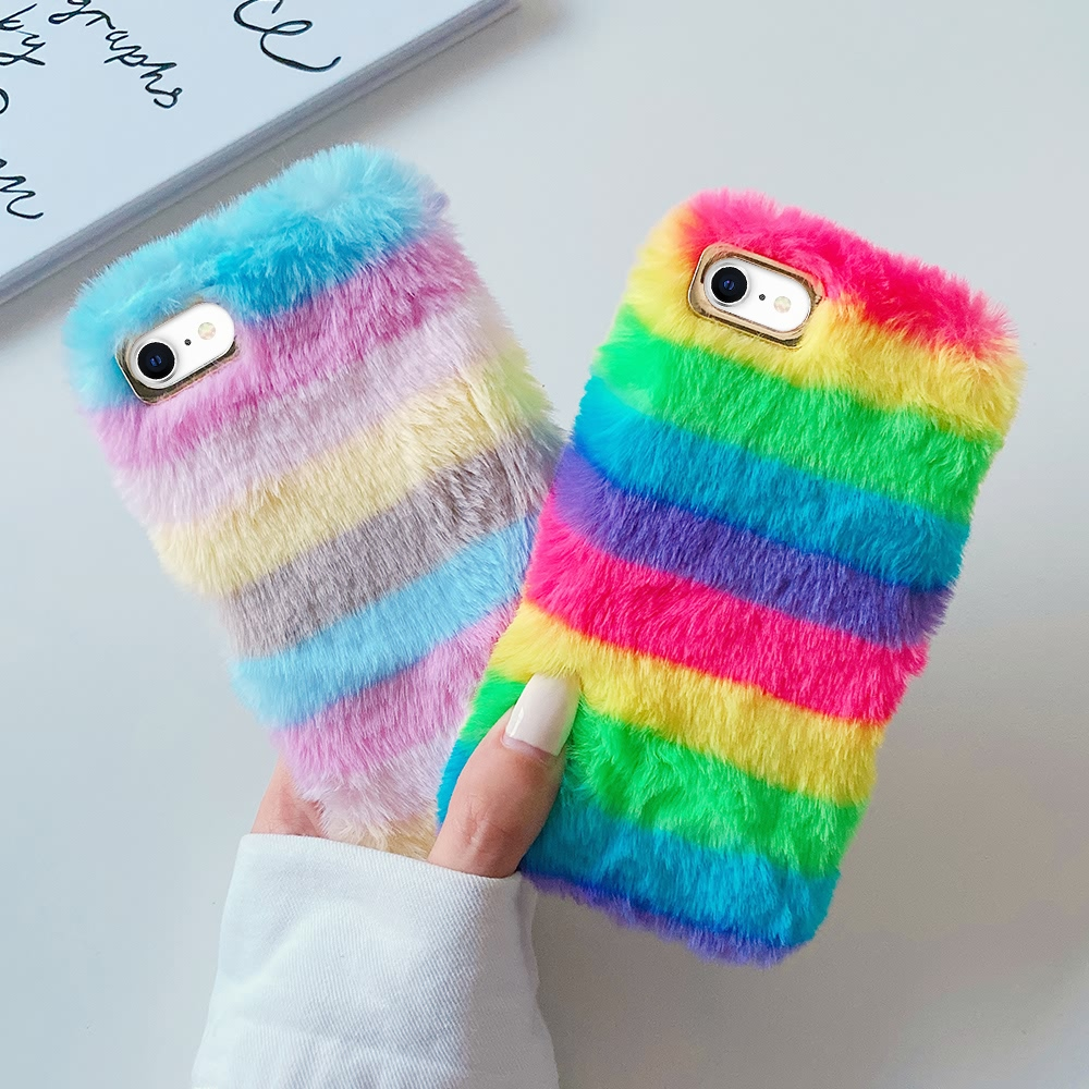 Stylish Rainbow Cover For iPhone 11 Pro Max 12 Mini Xr X Xs Fluffy Soft Case For iPhone  8 7 Plus 6 6s SE 2020 Girls Warm Coque