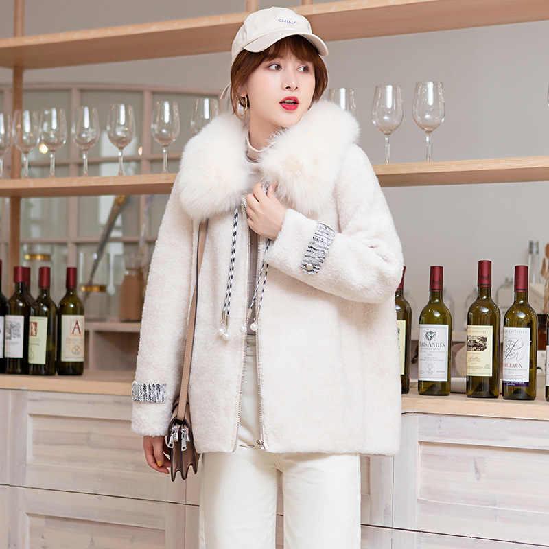 Echte Bontjas Vrouwelijke Natuurlijke Vos Bont Capuchon Schapen Scheren Jas Vrouwen Winter Kleding 2020 Koreaanse Wit 100% Wol Bont top 19663