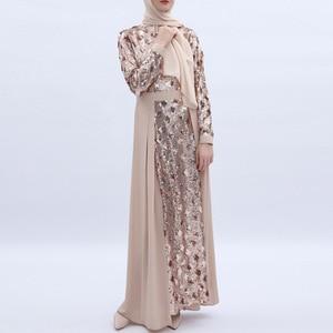 Image 5 - Women Dress Sequins Stitching Long Robe Abaya Jilbab Muslim Maxi Dresses Arabian Designer Elegant Party Robes Plus Size 2XL