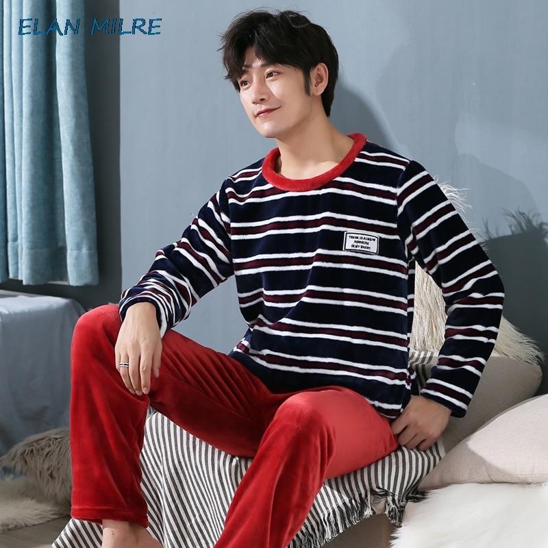 Pyjama Homme Men Pajamas Winter Flannel Pajama Set Coral Fleece Thicken Casual Warm Sleepwear Boys Pajama Set Plus Size 5xl