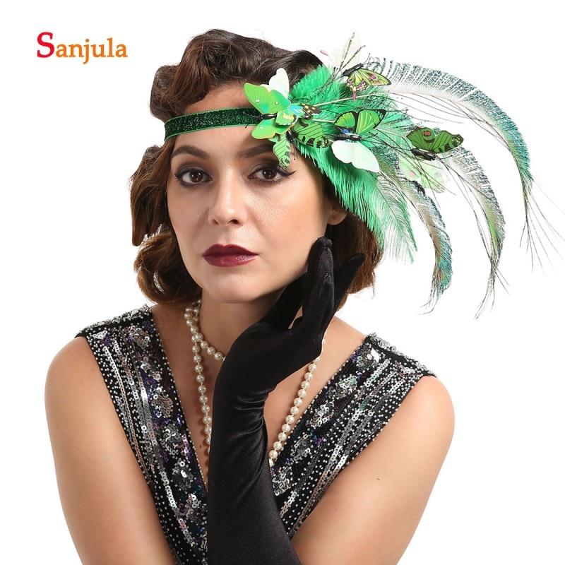 Очаровательная Повязка на голову с перьями и бабочкой для невесты, свадебные аксессуары для волос, красочный головной убор, головной убор