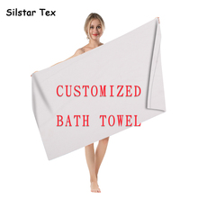 Silstar Tex Customized Photo Rectangle Soft Beach Towels Microfiber For Adults Swim Quickly Dry Bath Drop shipping