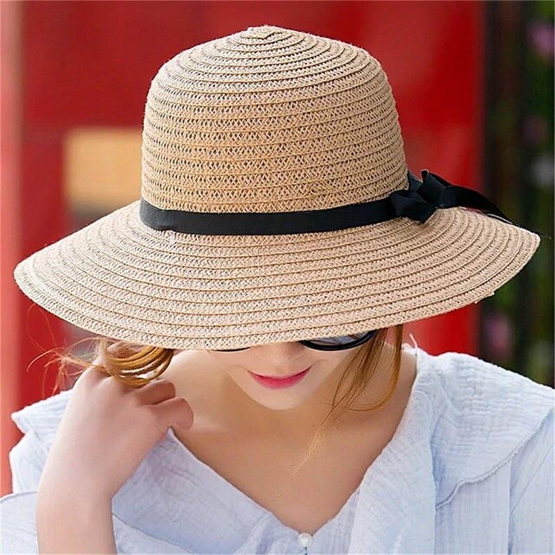 Women Hat Sun Wide Brim Cap Beach Summer Visor Uv Straw Cover Protection Ladies