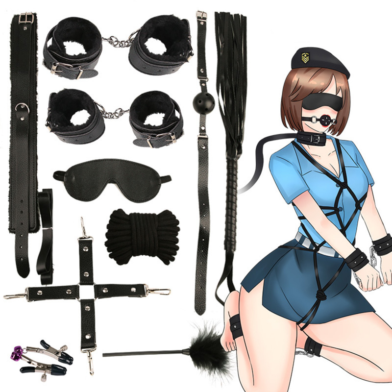 10 Pcs/set handcuffs police Cosplay Tools Toys for Set Handcuffs Nipple Clamps Gag Whip Rope Sex Toys For Couples sexy mask