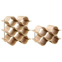 9 Bottle Wooden Wave Wine Rack Freestanding For Table, Bar Or Counter Modern Minimalist Design Sweet And Dry Wines For Small H