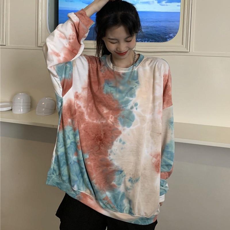 Купить осенняя свободная футболка женская повседневная с длинными рукавами