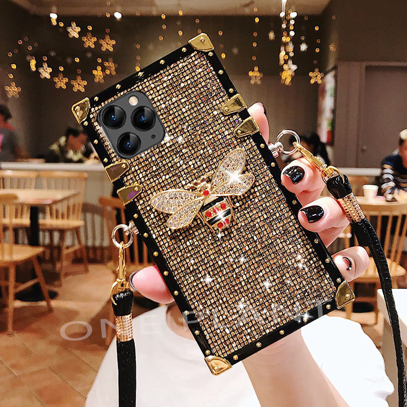 Luxury Glitter Diamond Bee Case For iPhone 11 12 Pro X XS Max XR 7 8 Plus Fashion Lanyard For Samsung S 10 Note 9 20 Ultra cover