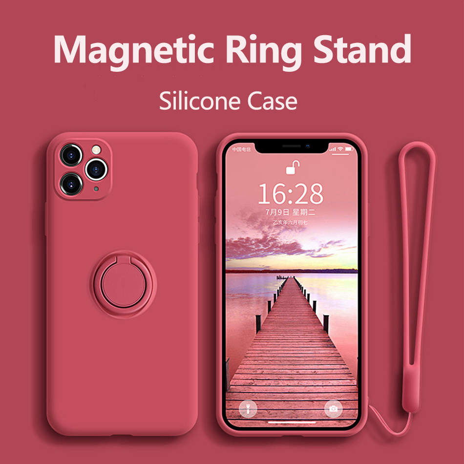 Case For iPhone 12 Case Silicone With Ring Holder Cover For iPhone 11 12 Pro Max XR Mini X XS Max 7 8 Plus SE 2020 Case Cover