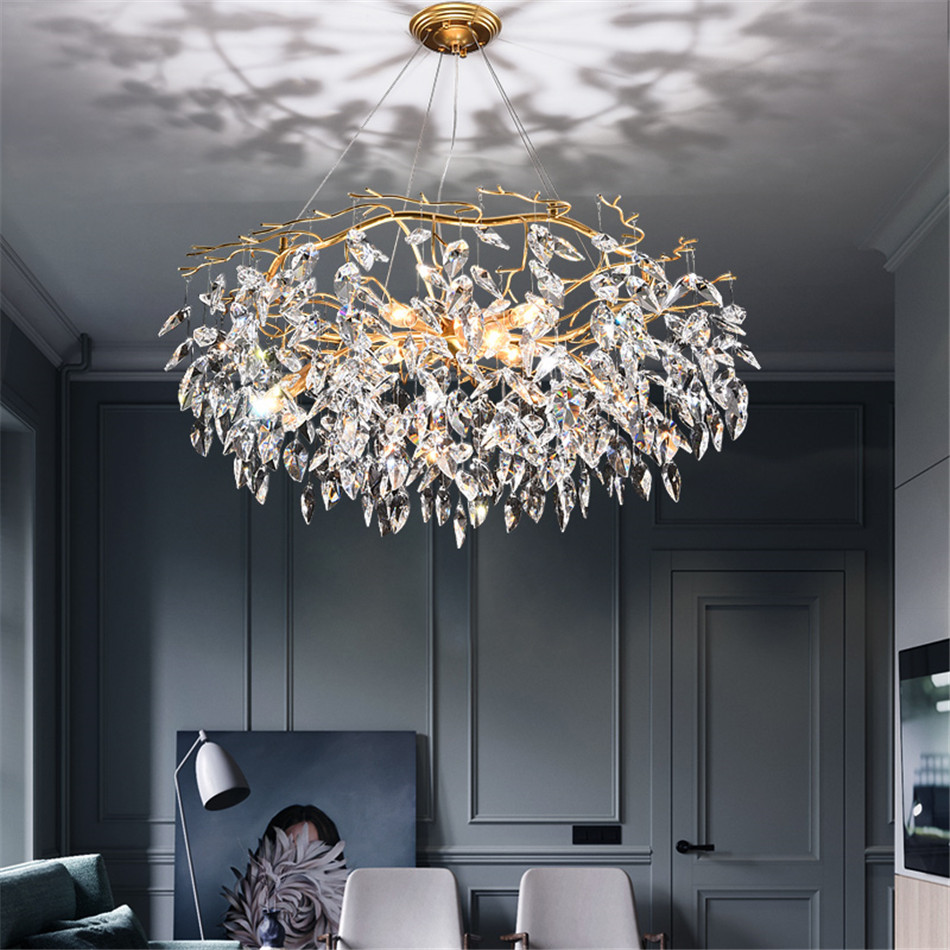 Nordic LED Chandelier Modern Lustres Crystal Living Room Hotel Lobby Chandelier Lighting Dining Room Decor Chandeliers Ceiling