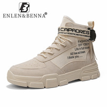 2021 skórzane buty mężczyźni zasznurować botki wojskowe męskie lekkie wysokie góry przyczynowe trampki mężczyźni wiosna jesień Plats motocykl tanie tanio ENLEN BENNA Podstawowe CN (pochodzenie) ANKLE Stałe NONE Okrągły nosek RUBBER Wiosna jesień Niska (1 cm-3 cm) 2903 leather boots