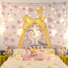 Cartoon Sailor Moon Printed Anime Tapestry Girl Dorm Room Decor Wall Hanging Tapestry Tapiz Wall Decor Pink Tapestries