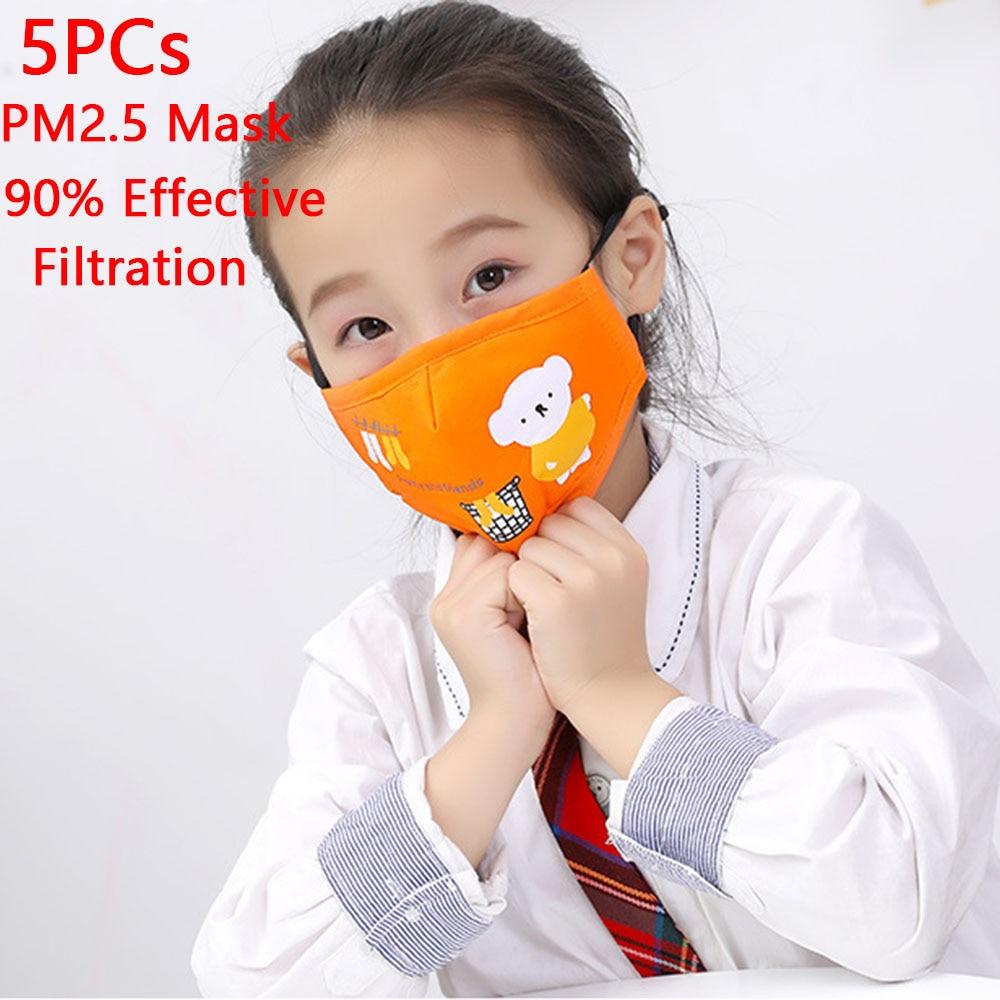 5PCs Children Cotton Mouth Mask Anti PM2.5 Haze Dust Washable Reusable Double Layer Dustproof Mouth-muffle Winter Warm Mask