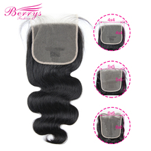 6x6 Lace Hair-Closure Transparent Berrys Fashion Body-Wave 100%Human-Hair Peruvian 4x4