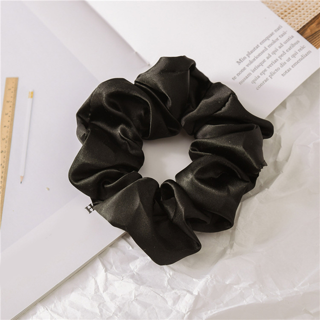 1 Pcs Satin Silk Solid Color Hair Ties Scrunchie Elastic Hair Bands Women Luxury Soft Hair Accessories Ponytail Holder Hair Rope 2