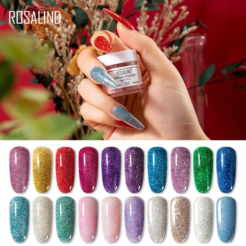 ROSALIND Glitter Tauch Pulver Nägel Kunst Dekorationen Keine Notwendigkeit Gehärtet 10g Glitter Holographische Pulver Dip Nagel Staub Ohne Lampe