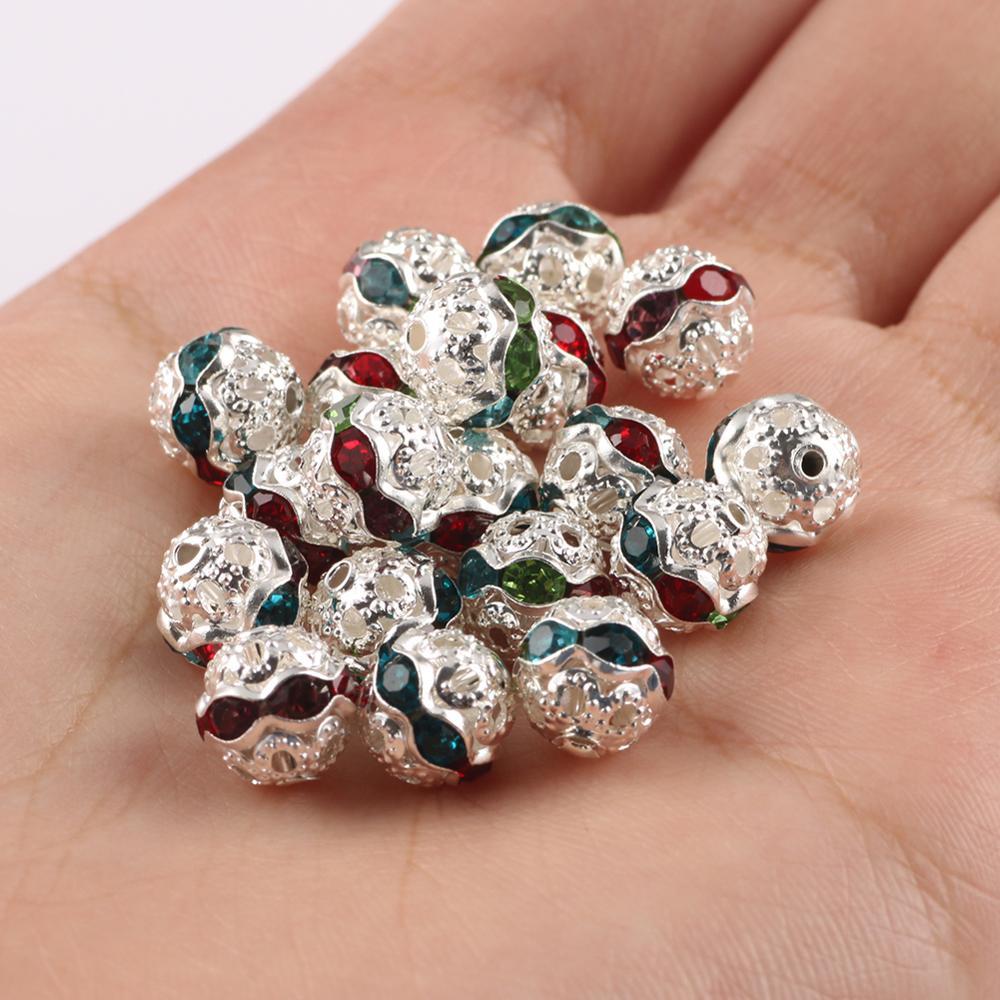 50 unids/lote de Metal chapado en oro plata de diamantes de imitación de cristal Rondelle espaciador perlas para la fabricación de la joyería DIY accesorios 6 8mm