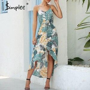Image 2 - Simplee seksi çiçek baskı kadın elbise kolsuz yüksek bel bodycon yaz elbisesi rahat bayanlar kayış ruffled boho plaj elbise