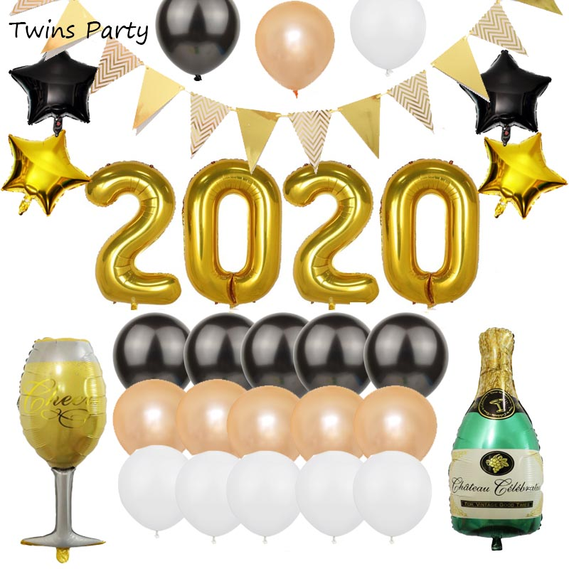 Twins Party 2020 New Years Balloons Kits Foil Graduation Year Festival  Decorations
