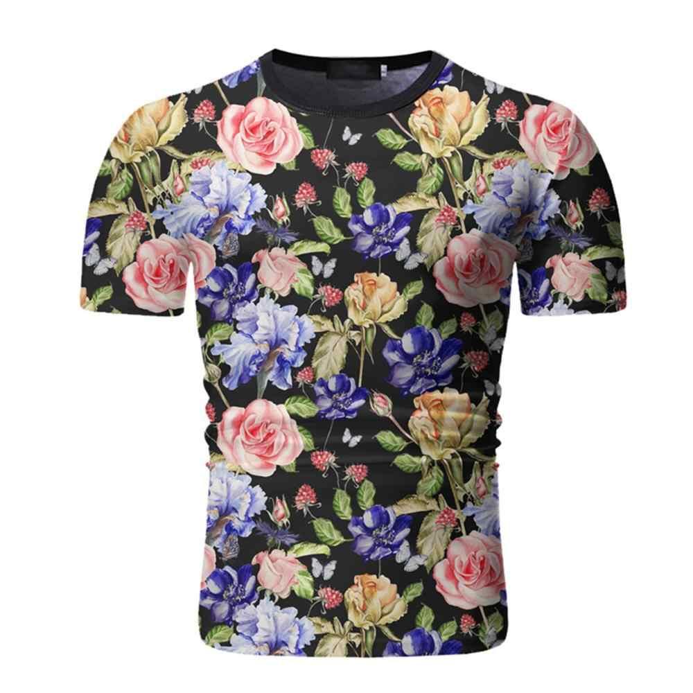 Mannen Ronde Hals Gedrukt Korte Mouwen T-shirt Maple Leaf & Bloemen Kleurrijke Zomer T-shirt Mode Casaul Slanke uitloper Mannelijke