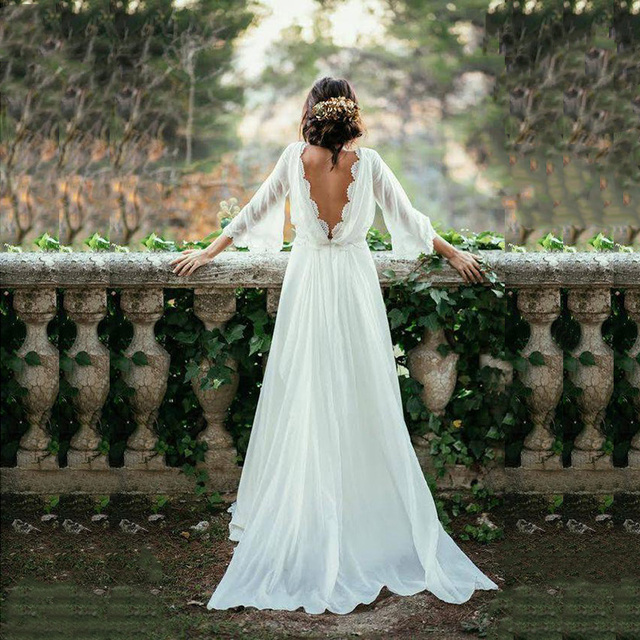 Hot Sale Charming White Chiffon Backless Bridal Wedding Dresses with Three Quarter Sleeves Lace Wedding Gowns for Bride V Neck 1