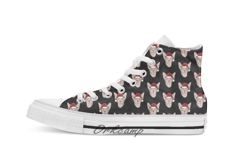 Santa Sphynx Cat  Custom Casual High Top Lace-up Canvas Shoes Sneakers Drop Shipping