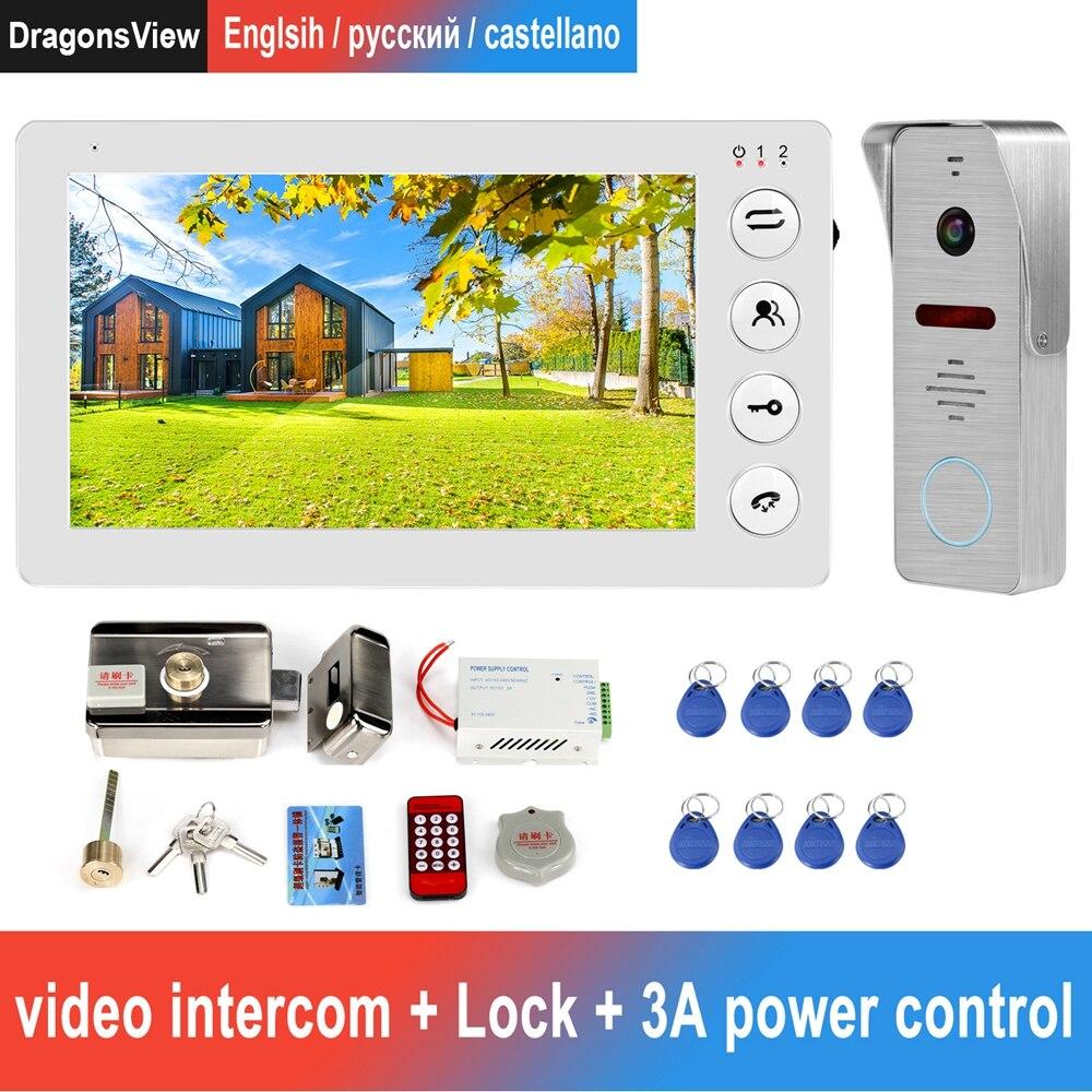 Com fio de vídeo porteiro campainha com porta suporte bloqueio eletrônico movimento detectar registro para o sistema segurança em casa telefone da porta vídeo