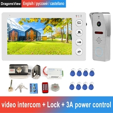 Wired Video Intercom Doorbell with Gate Electronic Lock Support Motion Detect Record  for Home Security System Video Door Phone